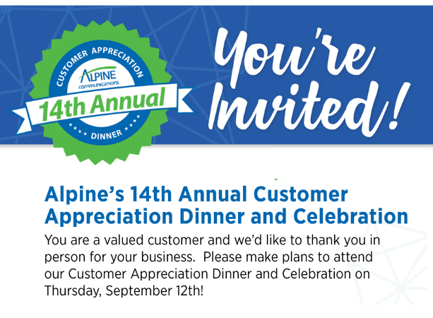 Alpine Customer Appreciation Dinner 2019
