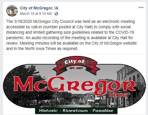 City of McGregor Iowa Facebook Post