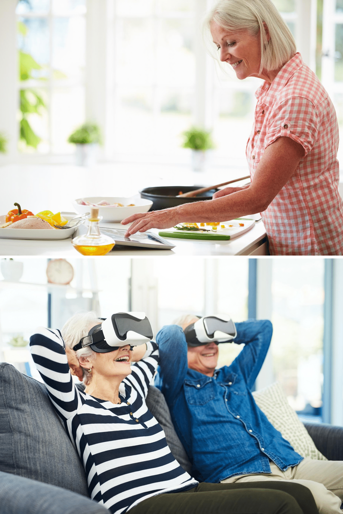 Cooking along with a tablet and taking a virtual vacation.