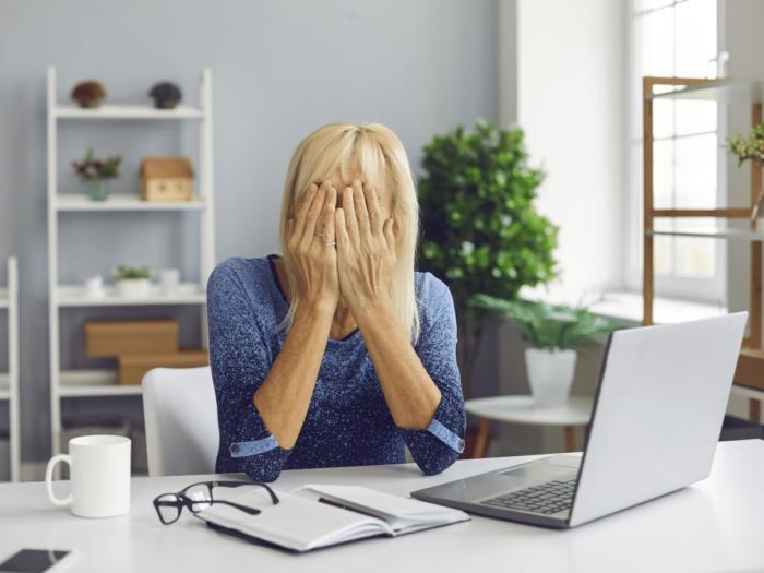 woman eye closed computer