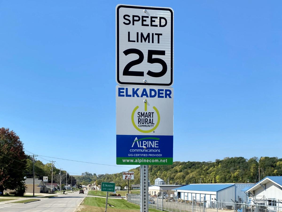 Alpine Road Sign Elkader